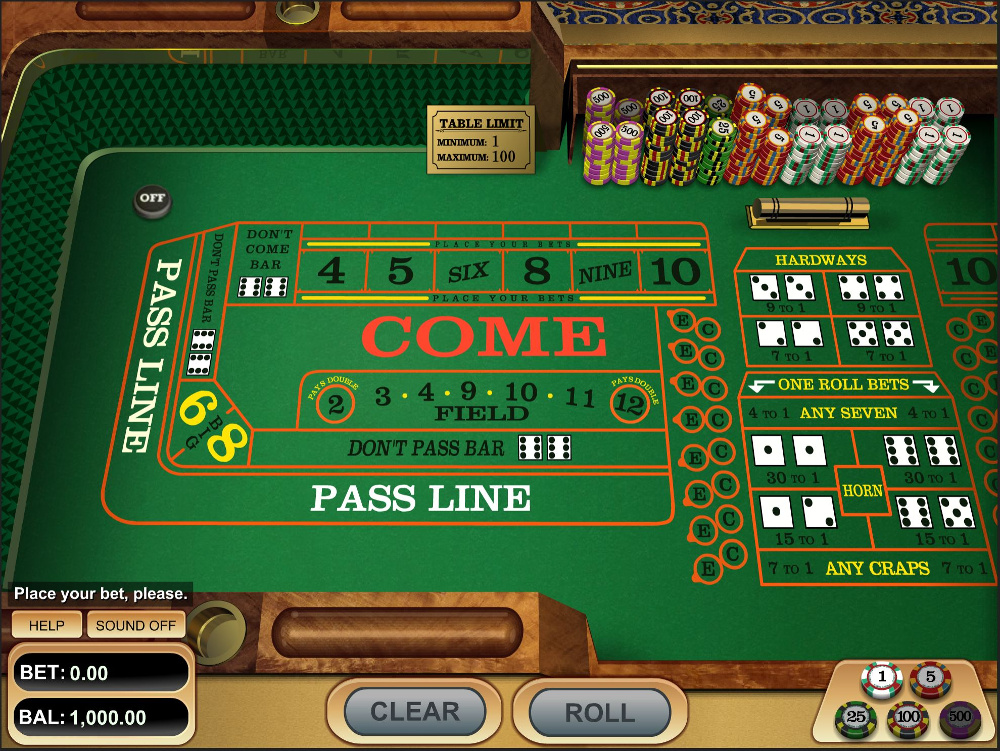 Craps Table being played at a online casino