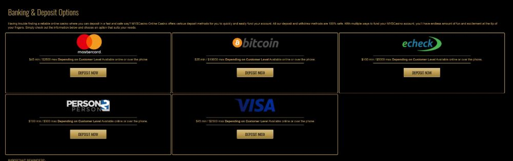 deposit and payout options