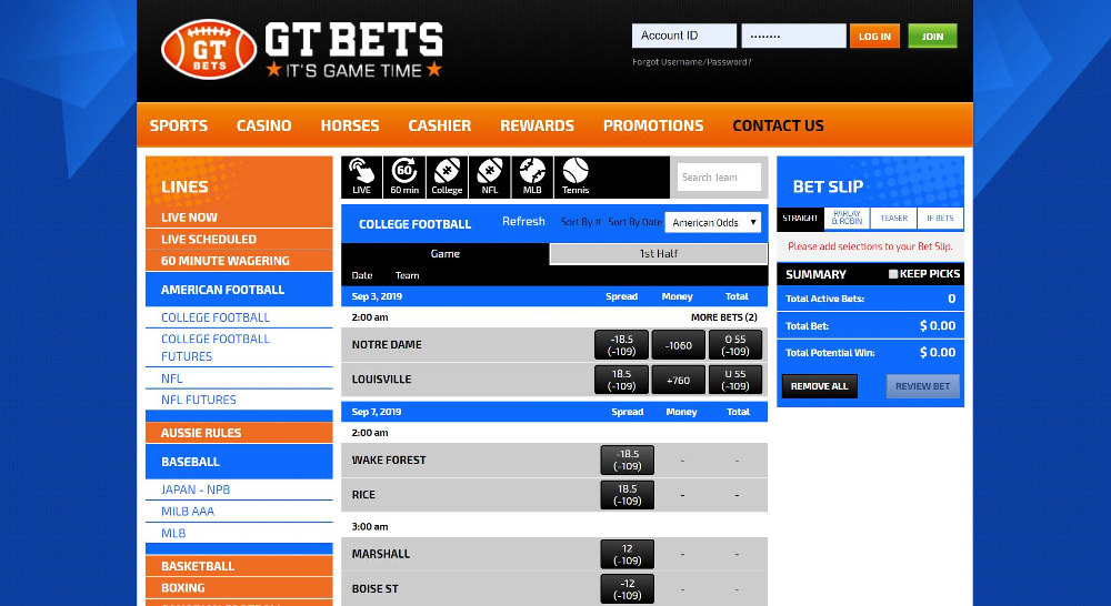 gtbets lines betting page