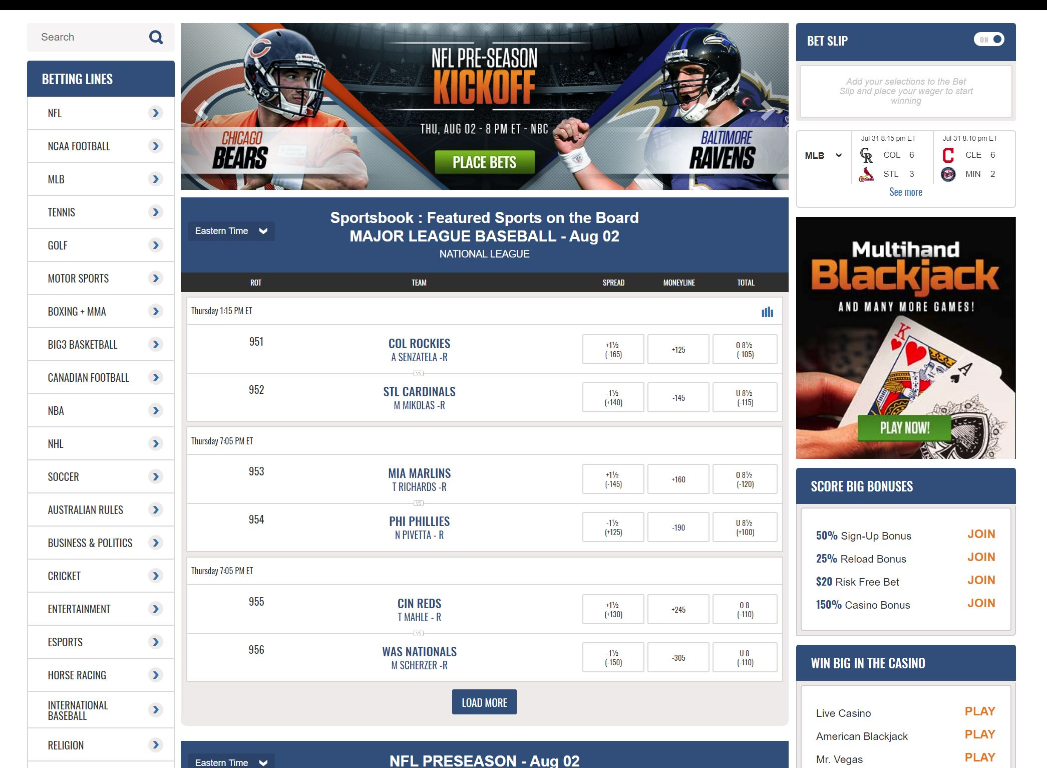 live sports betting sites