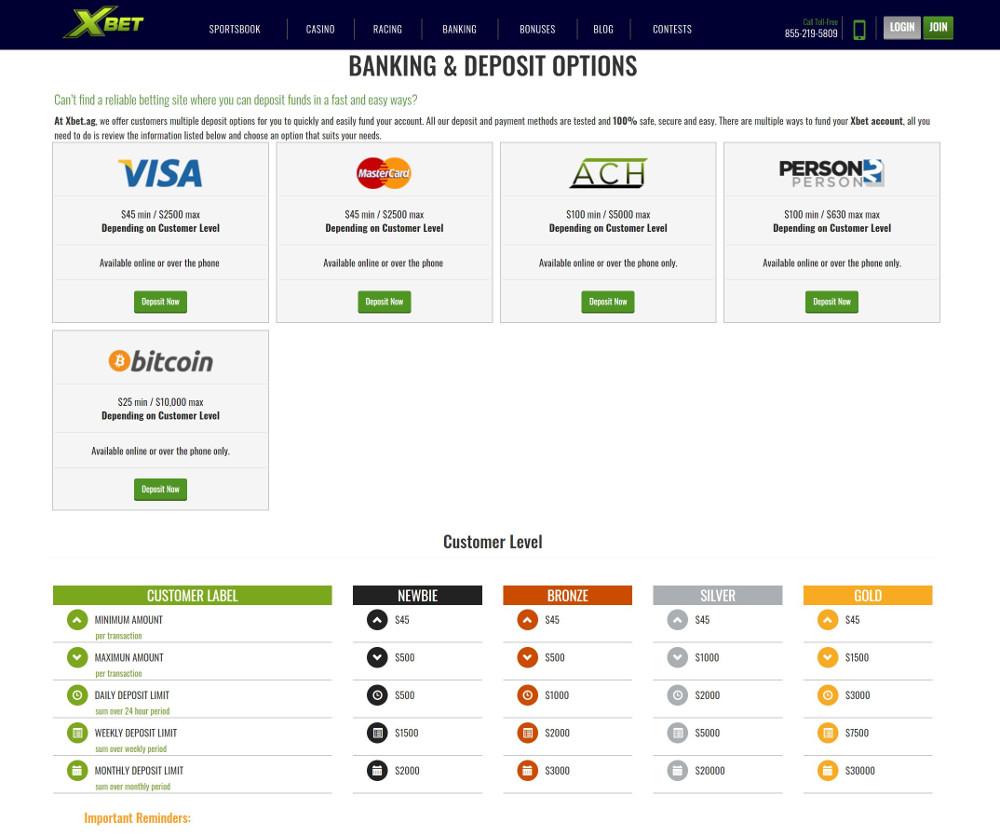 deposit options at xbet sportsbook